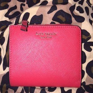 Kate Spade L-zip Bifold Wallet Cameron Hot Chili